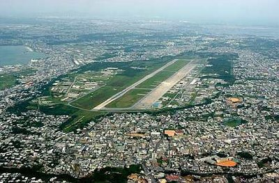 Futenma Base in the middle of Ginowan city