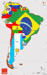 Flag simple map of South America.